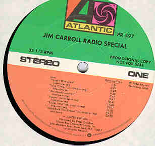 Jim Carroll Radio Special Album